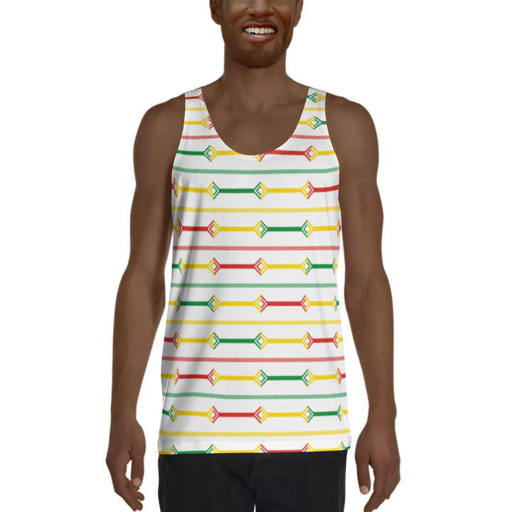DOGON (WHITE/RASTA) — Hand-sewn Men's Tank Top