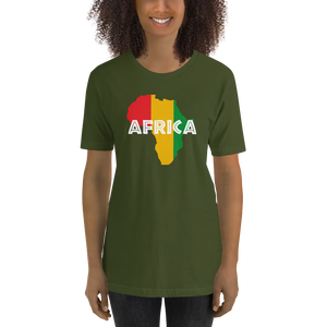 This olive green premium quality T-shirt from Natty Wear is made of 100% high-quality combed ringspun cotton. The front print portrays a map of Africa in the Rastafarian colors (red, gold/yellow, green), which are also known as the Pan-African colors, with white color used for the text of the word 'Africa' which overlays the image