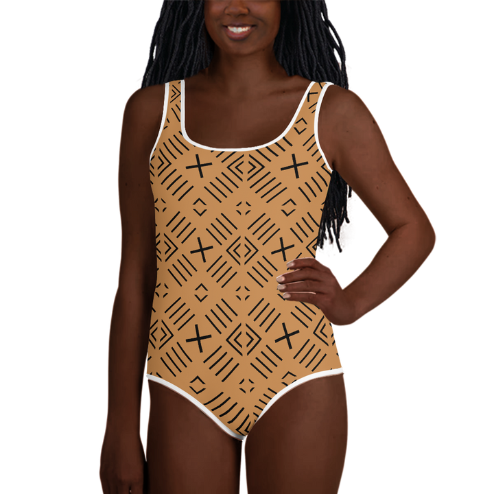 BÒGÒLANFINI 'FILA' (SAND/BLACK) — Hand-sewn Youth Swimsuit