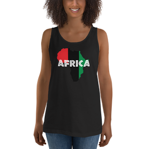 This premium quality Tank Top from Natty Wear is made of 100% ringspun cotton. The front print portrays a map of Africa in the UNIA colors (red, black, green), which are also known as the Pan-African colors, with white color used for the text of the word 'Africa' which overlays the image