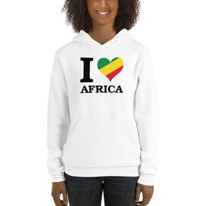 This white hoodie from Natty Wear is made of 52% ringspun cotton and 48% polyester fleece*. The front print portrays the capital letter 'I' in black color, followed by a heart symbol (❤) in the Rastafarian colors (red, gold/yellow, green), which are also known as the Pan-African colors, below is the word 'AFRICA' set in capital letters in black color