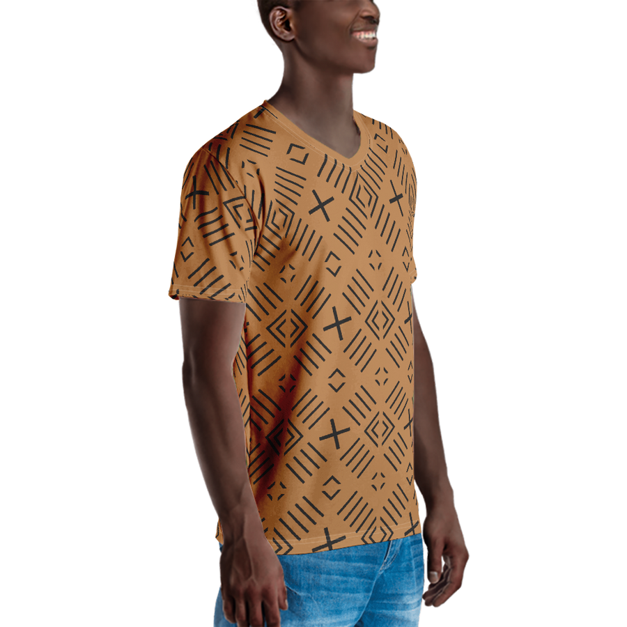 BÒGÒLANFINI 'FILA' (SAND/BLACK) — Hand-sewn Men's V-Neck T-shirt