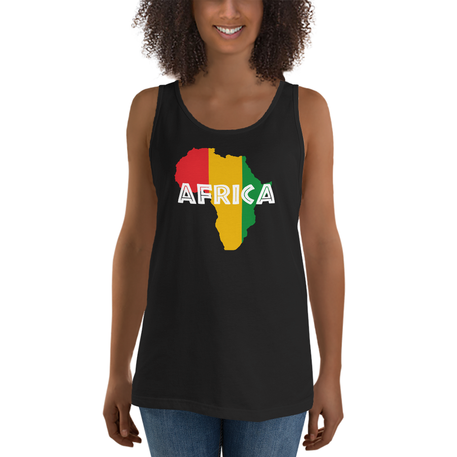 This black premium quality Tank Top from Natty Wear is made of 100% ringspun cotton. The front print portrays a map of Africa in the Rastafarian colors (red, gold/yellow, green), which are also known as the Pan-African colors, with white color used for the text of the word 'Africa' which overlays the image