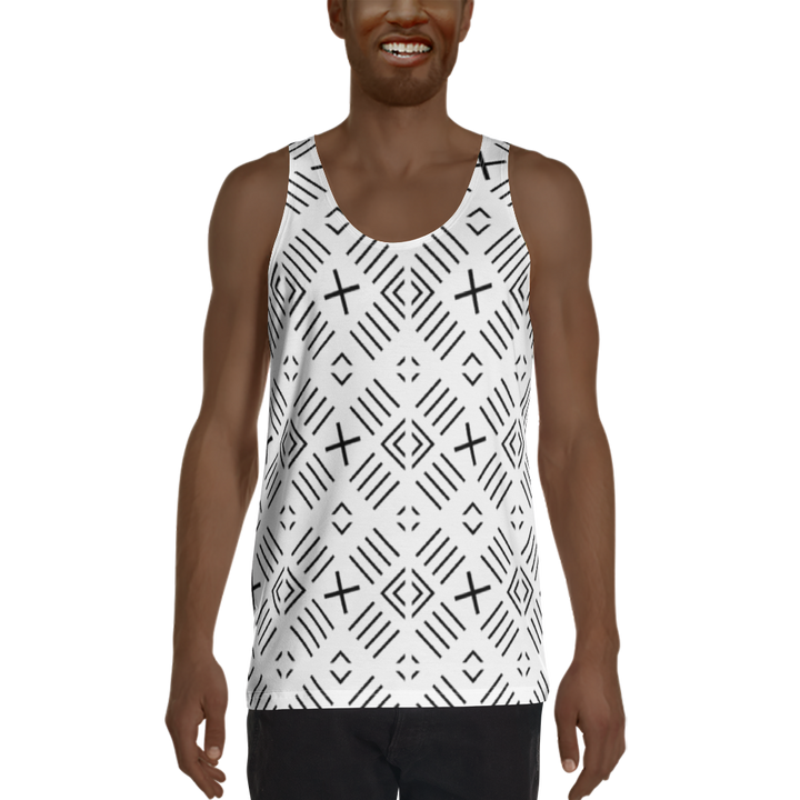 BÒGÒLANFINI 'FILA' (WHITE/BLACK) — Hand-sewn Men's Tank Top