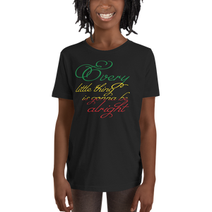 This black short-sleeved youth Tee from Natty Wear is made of 100% soft jersey cotton*. The front print portrays the text ' Every little thing is gonna be alright' written in a stylish font in the Rastafarian colors (red, gold/yellow, green), which are also known as the Pan-African colors