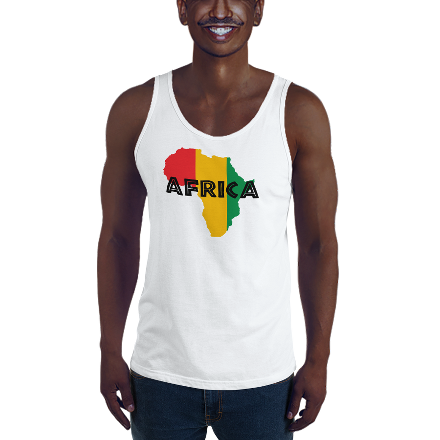 This white premium quality Tank Top from Natty Wear is made of 100% ringspun cotton. The front print portrays a map of Africa in the Rastafarian colors