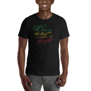 This premium quality T-shirt from Natty Wear is made of 100% high-quality combed ringspun cotton. The front print portrays the text ' Every little thing is gonna be alright' written in a stylish font in the Rastafarian colors (red, gold/yellow, green), which are also known as the Pan-African colors