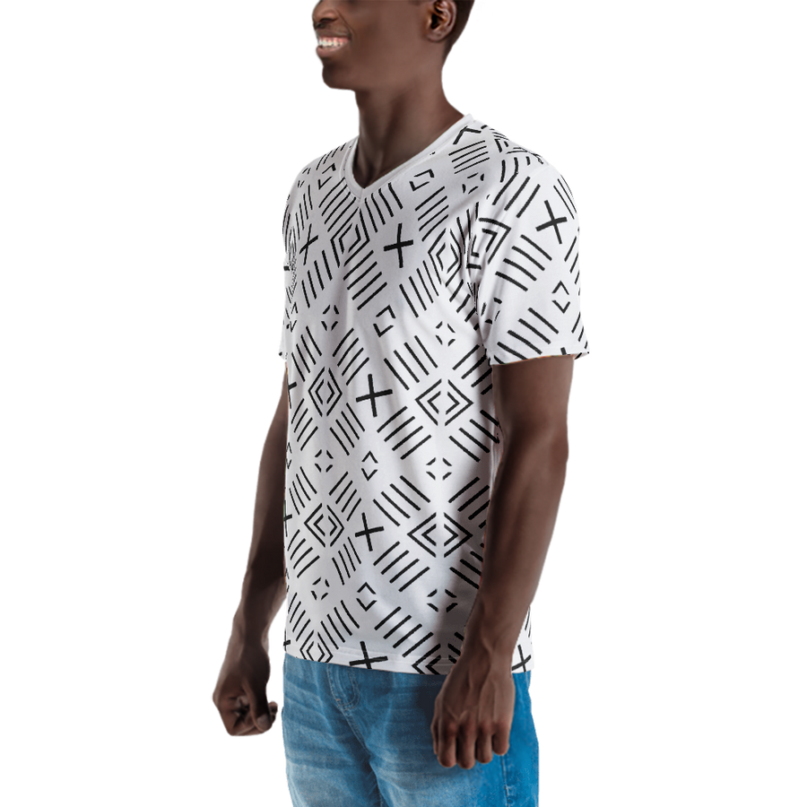 BÒGÒLANFINI 'FILA' (WHITE/BLACK) — Hand-sewn Men's V-Neck T-shirt