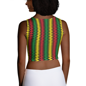 ASANTE KENTE 'ZIG-ZAG' (BLACK/RASTA) — Hand-sewn Women's Crop Top