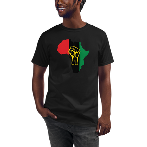 RAISED FIST 'AFRICA' (UNIA/YELLOW) — Men's Organic T-shirt