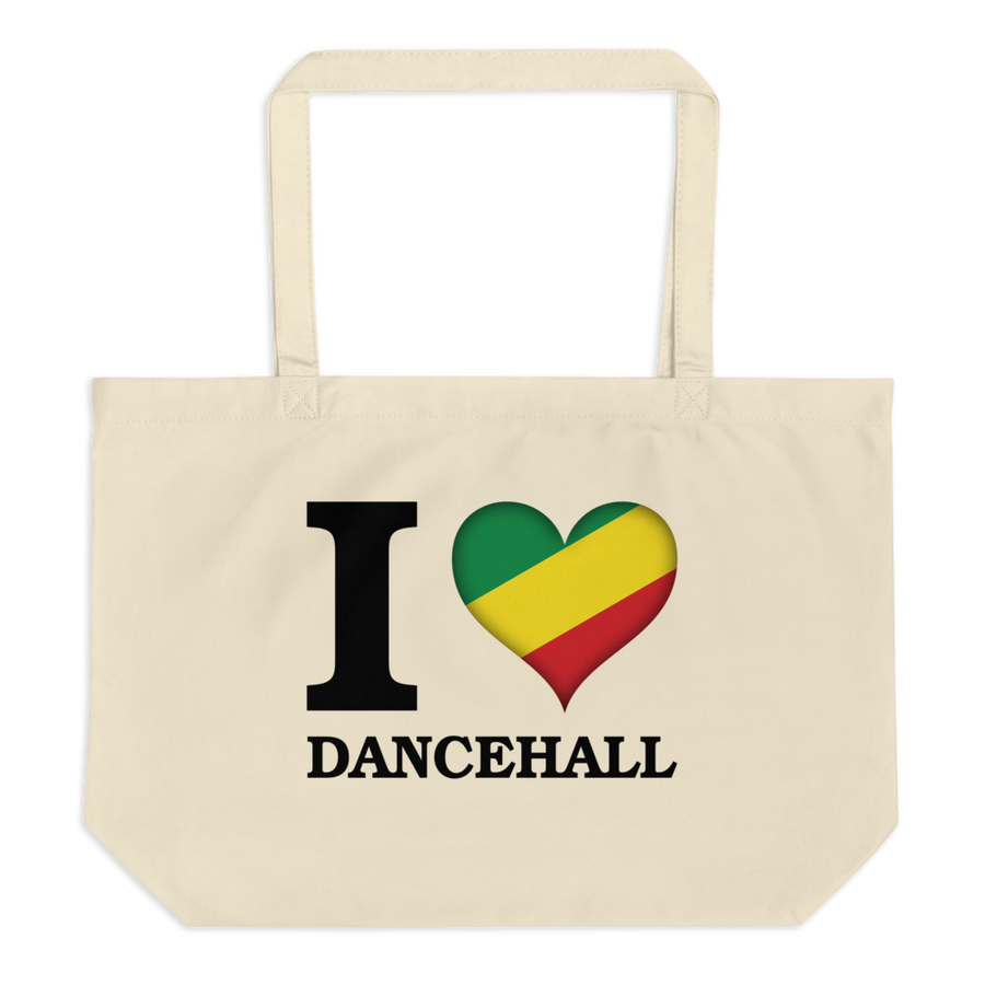 I ❤ DANCEHALL (RASTA/BLACK) — Organic Tote Bag