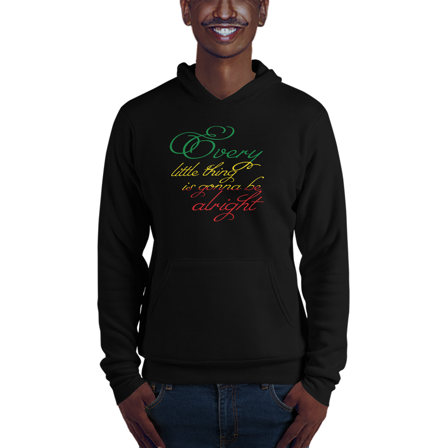 This hoodie from Natty Wear is made of 52% ringspun cotton and 48% polyester fleece. The front print portrays the text ' Every little thing is gonna be alright' written in a stylish font in the Rastafarian colors (red, gold/yellow, green), which are also known as the Pan-African colors