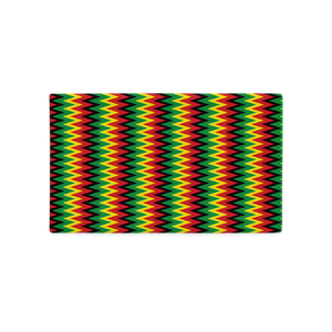 ASANTE KENTE 'ZIG-ZAG' (RASTA/BLACK)  — Hand-sewn Premium Pillowcase