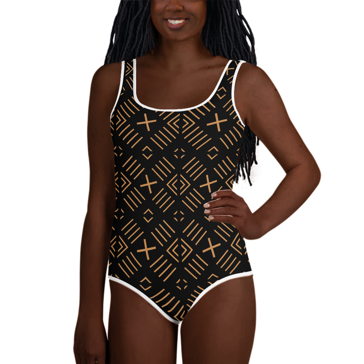 BÒGÒLANFINI 'FILA' (BLACK/SAND) — Hand-sewn Youth Swimsuit