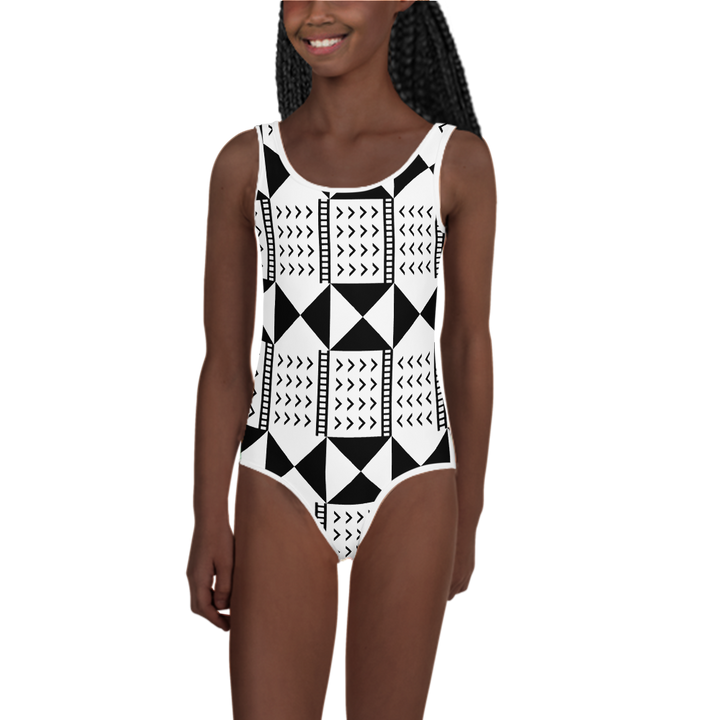BÒGÒLANFINI 'WÓLONWULA' (WHITE/BLACK) — Hand-sewn Kids' Swimsuit