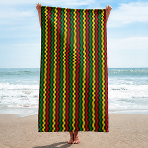 ASANTE KENTE 'ZIG-ZAG' (BLACK/RASTA) — Beach Towel