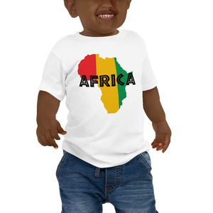 This white short-sleeved baby T-shirt from Natty Wear is made of 100% cotton. The front print portrays a map of Africa in the Rastafarian colors