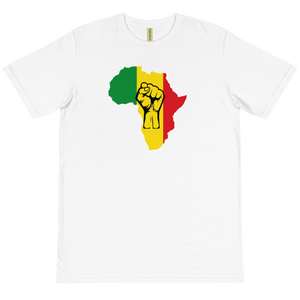 RAISED FIST 'AFRICA' (RASTA/BLACK) — Unisex Organic T-shirt