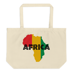 This organic tote bag from Natty Wear is made of 100% certified organic cotton. The front print portrays a map of Africa in the Rastafarian colors