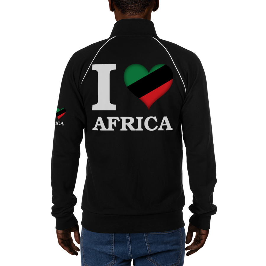 I ❤ AFRICA (UNIA/WHITE) — Men's Piped Fleece Jacket
