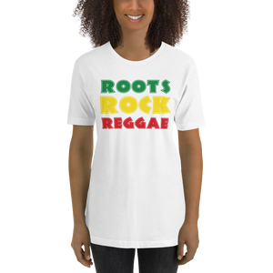 This white premium quality T-shirt from Natty Wear is made of 100% high-quality combed ringspun cotton*. The front print portrays the text 'ROOTS ROCK REGGAE' written in a stylish font in the Rastafarian colors (red, gold/yellow, green), which are also known as the Pan-African colors