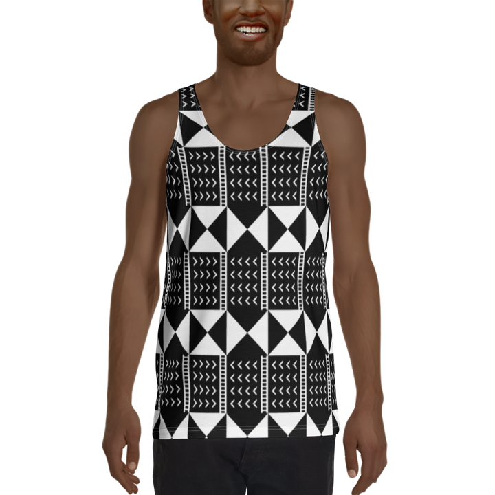 BÒGÒLANFINI 'WÓLONWULA' (BLACK/WHITE) — Hand-sewn Men's Tank Top