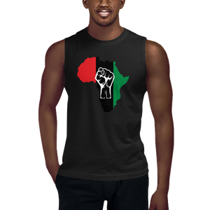 RAISED FIST 'AFRICA' (UNIA/WHITE) — Men's Muscle Shirt