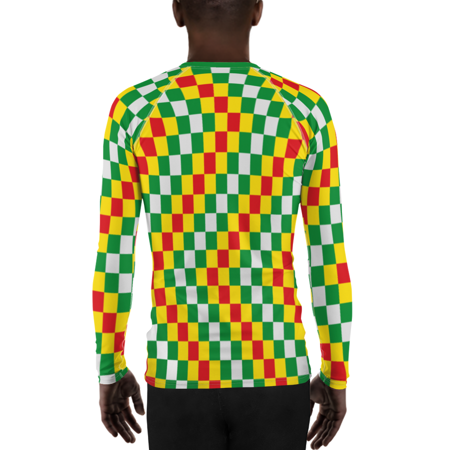 EWE KENTE 'EWO' (RASTA/WHITE) — Hand-sewn Men's Rash Guard