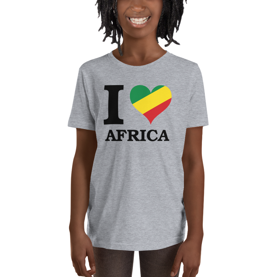 I ❤ AFRICA (RASTA/BLACK) — Short-sleeved Youth T-shirt