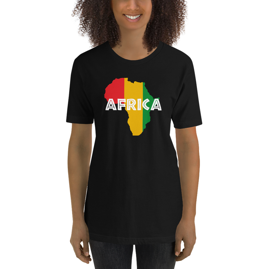 This black premium quality T-shirt from Natty Wear is made of 100% high-quality combed ringspun cotton. The front print portrays a map of Africa in the Rastafarian colors (red, gold/yellow, green), which are also known as the Pan-African colors, with white color used for the text of the word 'Africa' which overlays the image