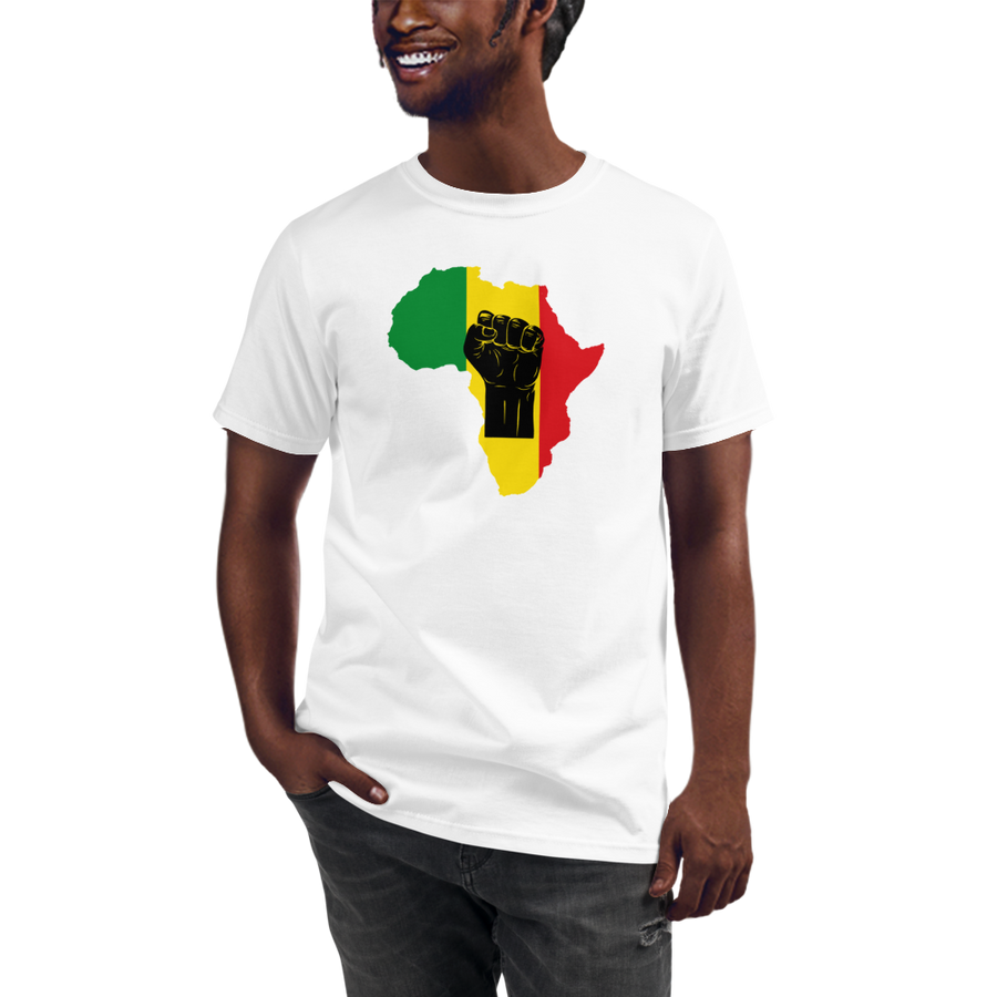 RAISED FIST 'AFRICA' (BLACK/RASTA) — Men's Organic T-shirt