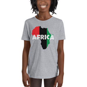 This black short-sleeved youth Tee from Natty Wear is made of 90% soft jersey cotton and 10% polyester. The front print portrays a map of Africa in the UNIA colors (red, black, green), which are also known as the Pan-African colors, with white color used for the text of the word 'Africa' which overlays the image