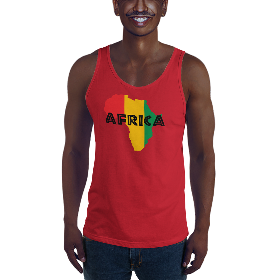 This red premium quality Tank Top from Natty Wear is made of 100% ringspun cotton. The front print portrays a map of Africa in the Rastafarian colors