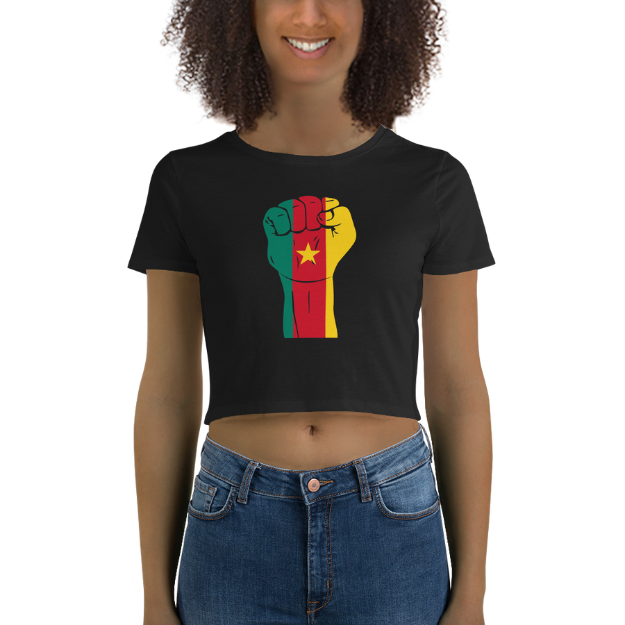 RAISED FIST 'CAMEROON' — Women's Crop Tee