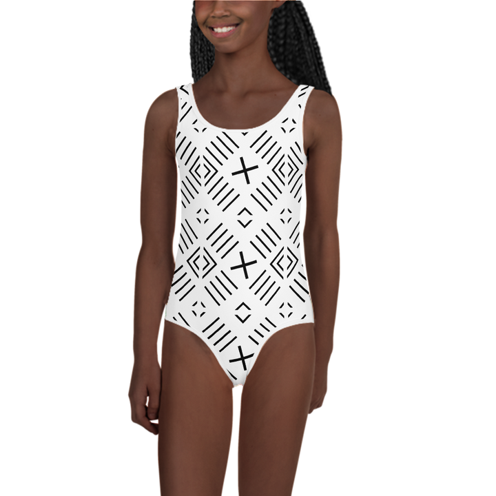 BÒGÒLANFINI 'FILA' (WHITE/BLACK) — Hand-sewn Kids' Swimsuit
