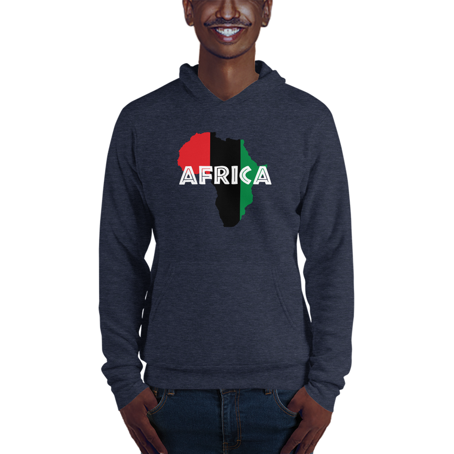 This blue navy hoodie from Natty Wear is made of 60% ringspun cotton and 40% polyester fleece. The front print portrays a map of Africa in the UNIA colors (red, black, green), which are also known as the Pan-African colors, with white color used for the text of the word 'Africa' which overlays the image