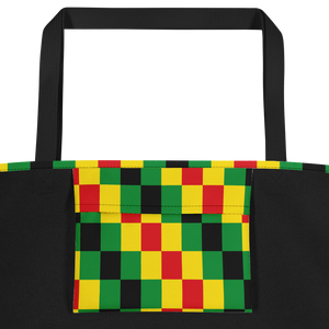 EWE KENTE 'EWO' (RASTA/BLACK) — Hand-sewn Beach Bag