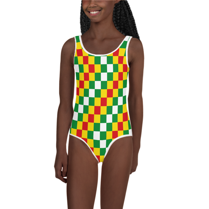 EWE KENTE 'EWO' (RASTA/WHITE) — Hand-sewn Kids' Swimsuit
