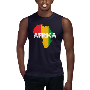 This navy blue sleeveless muscle shirt from Natty Wear is made of 100% combed ringspun cotton. The front print portrays a map of Africa in the Rastafarian colors
