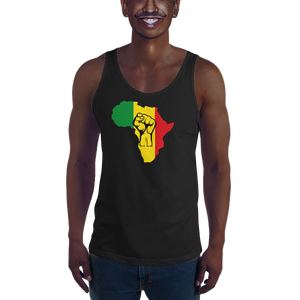 This black premium quality Tank Top from Natty Wear is made of 100% ringspun cotton. The front print portrays a map of Africa in the Rastafarian colors (red, gold/yellow, green), which are also known as the Pan-African colors, with black color used for the outlines of a raised fist which overlays the image