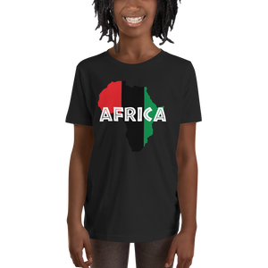 This black short-sleeved youth Tee from Natty Wear is made of 100% soft jersey cotton. The front print portrays a map of Africa in the UNIA colors (red, black, green), which are also known as the Pan-African colors, with white color used for the text of the word 'Africa' which overlays the image