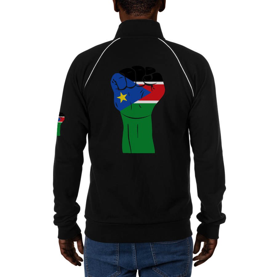 RAISED FIST 'SOUTH SUDAN' — Men's Piped Fleece Jacket