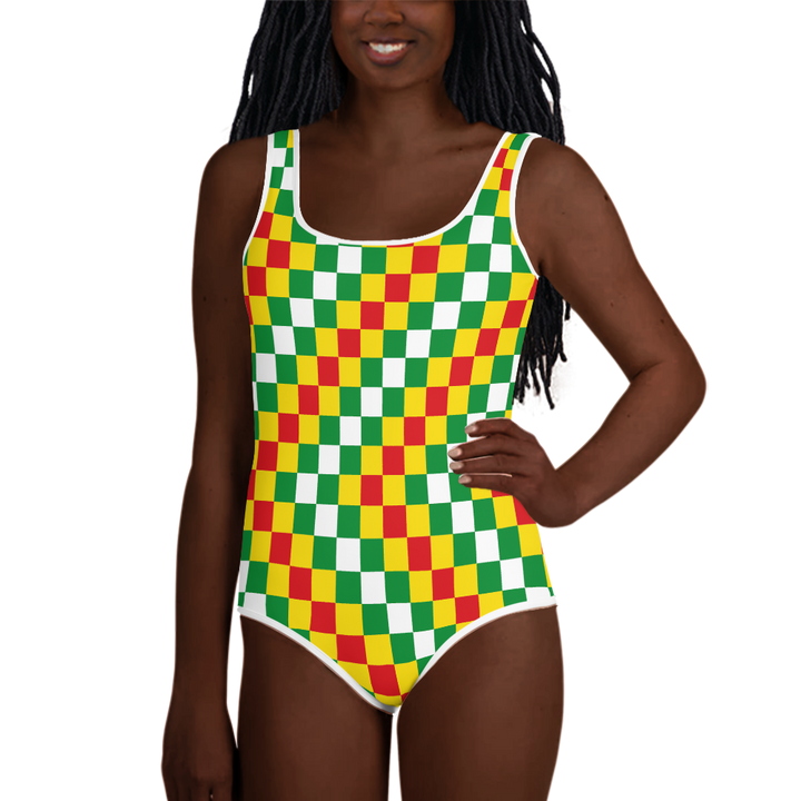 EWE KENTE 'EWO' (RASTA/WHITE) — Hand-sewn Youth Swimsuit