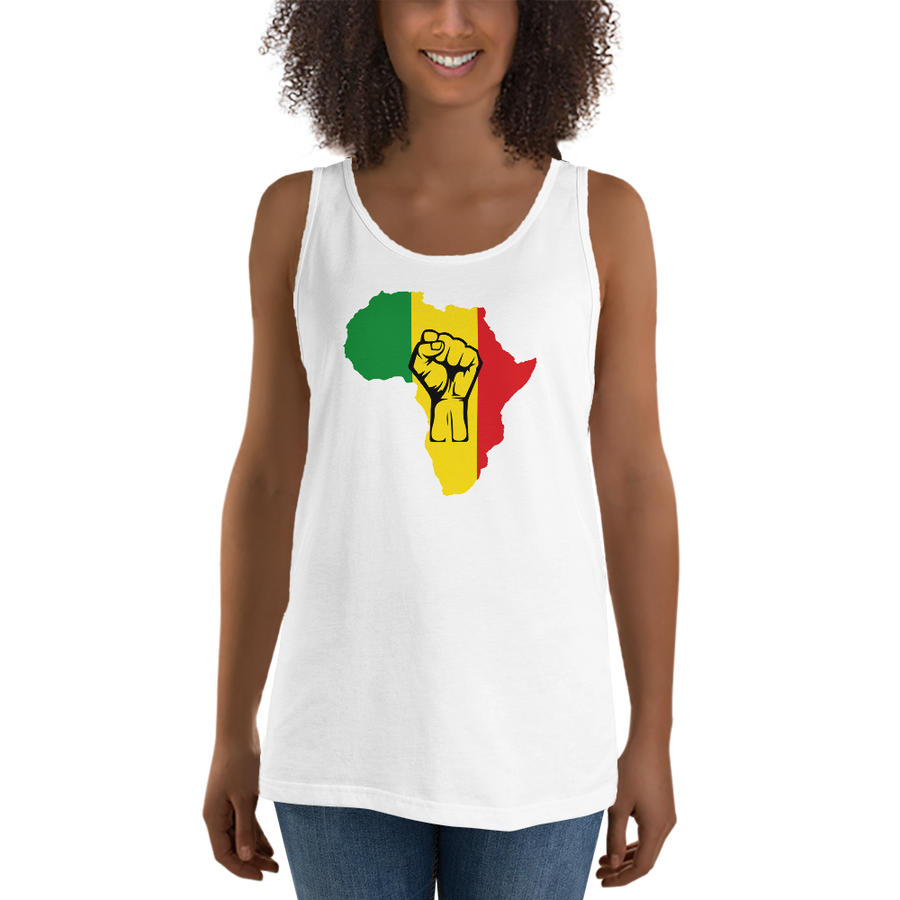 RAISED FIST 'AFRICA' (RASTA/BLACK) — Women's Premium Tank Top