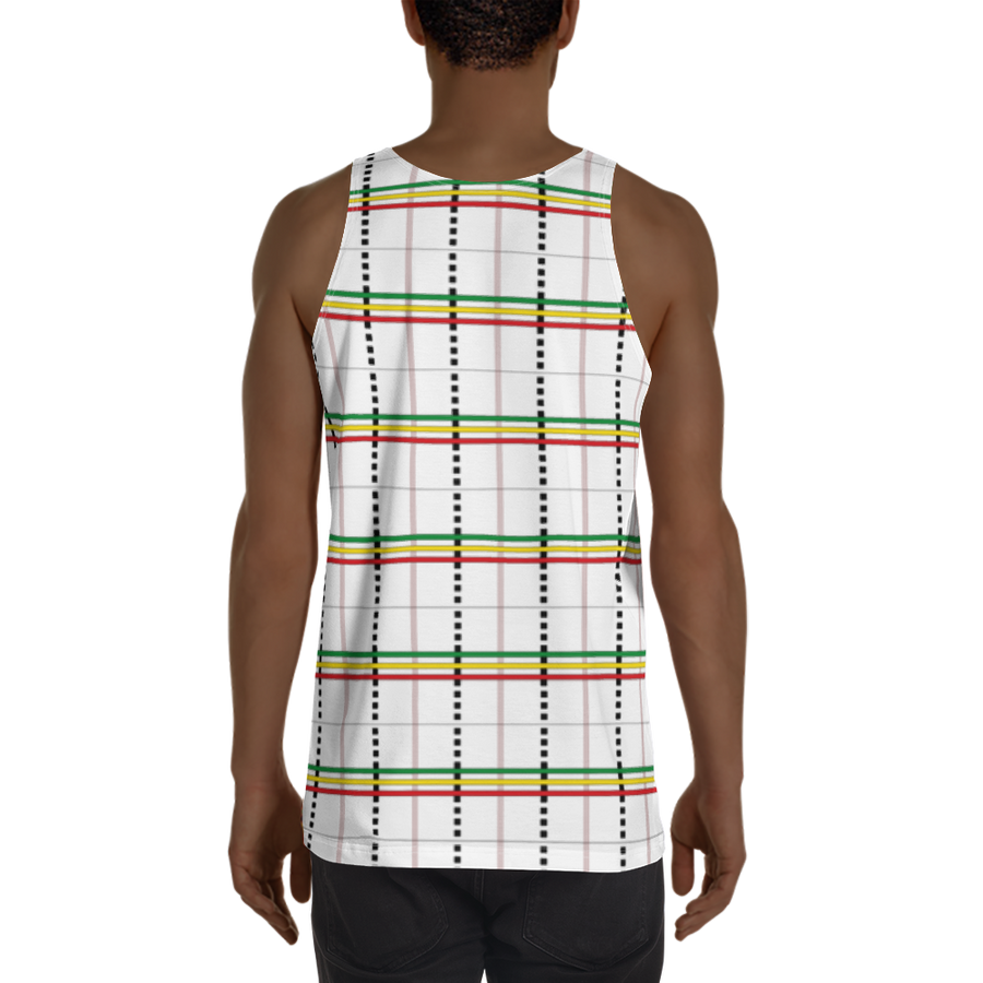 ASA-OKE (WHITE/RASTA) — Hand-sewn Men's Tank Top