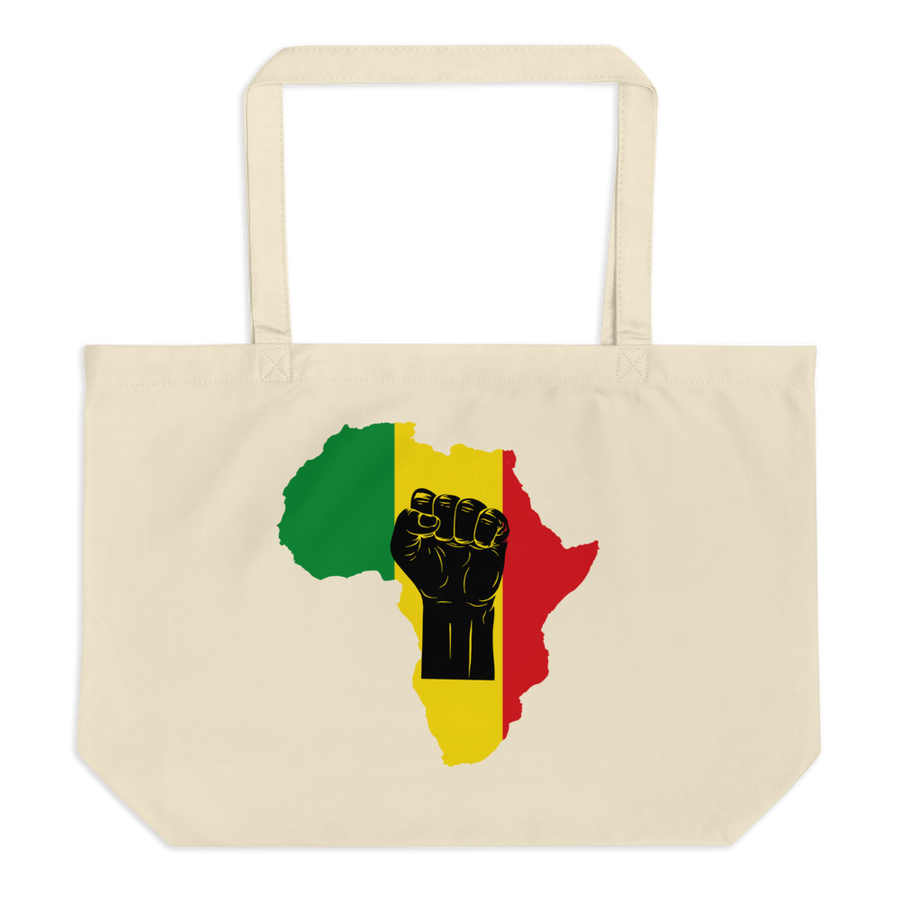 RAISED FIST 'AFRICA' (BLACK/RASTA) — Organic Tote Bag