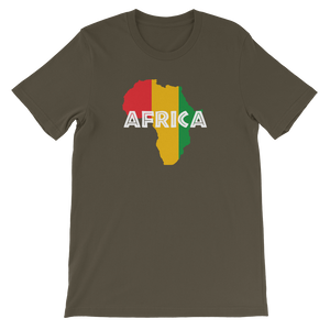 This army green premium quality unisex T-shirt from Natty Wear is made of 100% high-quality combed ringspun cotton. The front print portrays a map of Africa in the Rastafarian colors (red, gold/yellow, green), which are also known as the Pan-African colors, with white color used for the text of the word 'Africa' which overlays the image