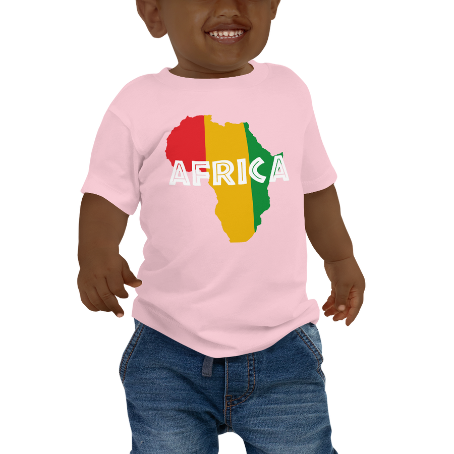 This pink short-sleeved baby T-shirt from Natty Wear is made of 100% cotton. The front print portrays a map of Africa in the Rastafarian colors (red, gold/yellow, green), which are also known as the Pan-African colors, with white color used for the text of the word 'Africa' which overlays the image