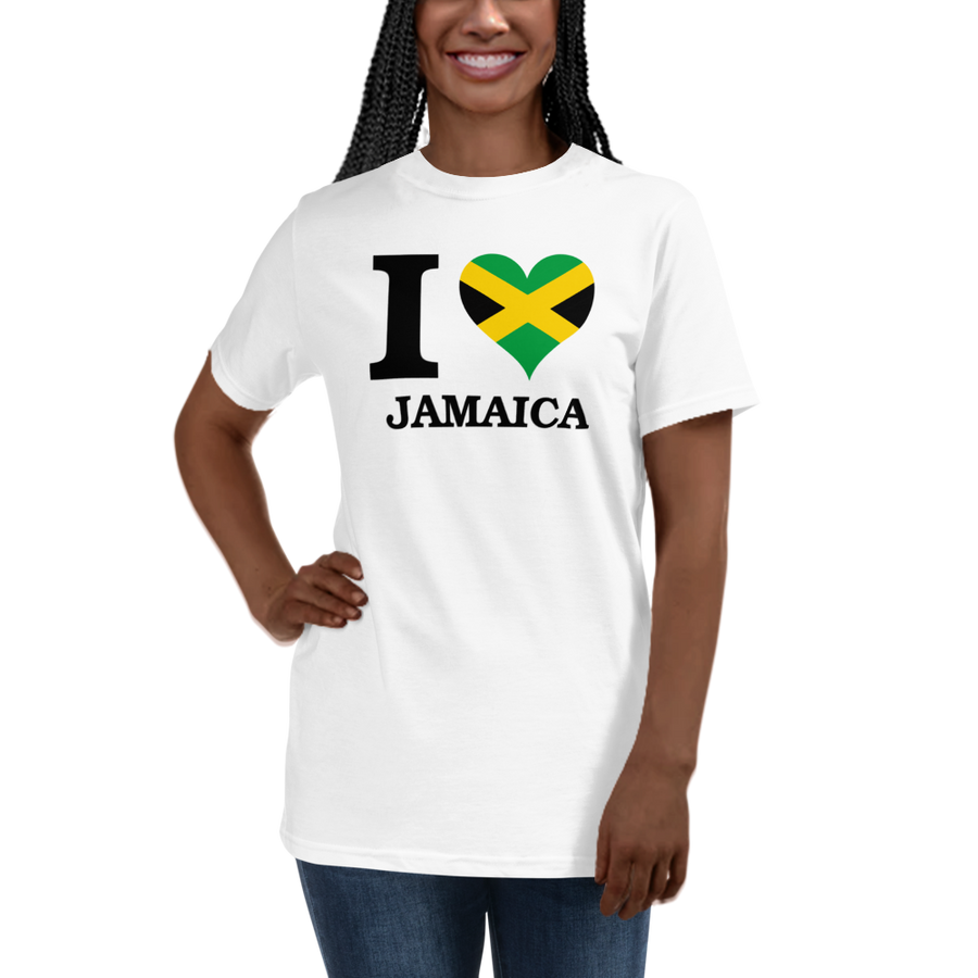 I ❤ JAMAICA (BLACK) — Women's Organic T-shirt