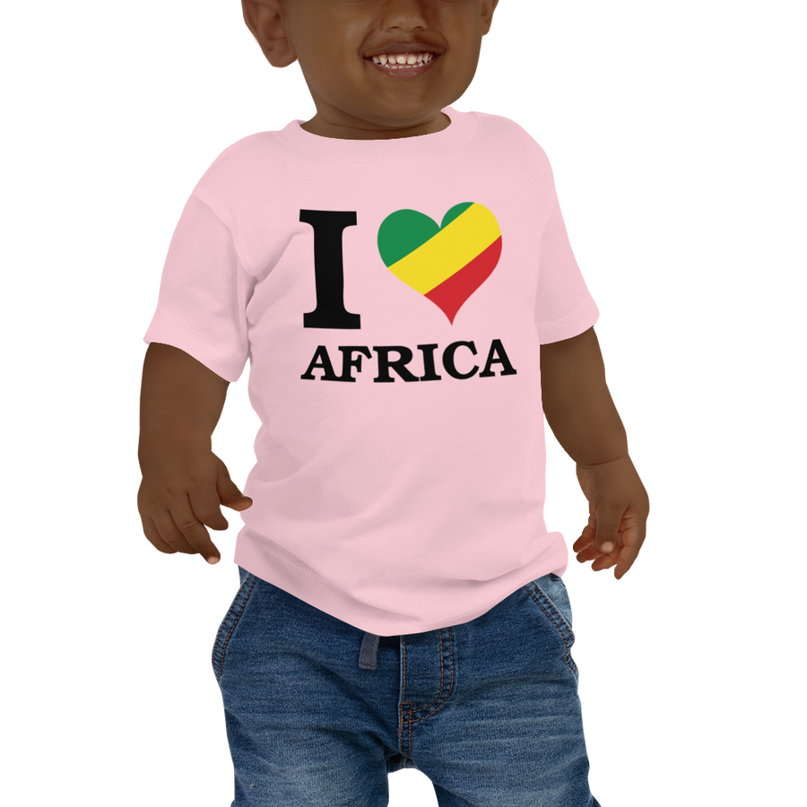 I ❤ AFRICA (RASTA/BLACK) — Short-sleeved Baby T-shirt